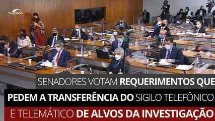 VÍDEO: Senadores votam requerimentos que pedem a transferência do sigilo telefônico e telemático de alvos da investigação