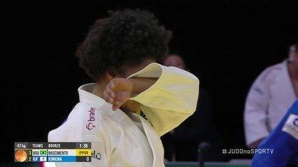 Ketelyn Nascimento imobiliza russa Anastasiia Konkina e o Brasil conquista o bronze por equipes no Mundial de Judô