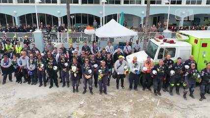 Video: Search teams provide a 1-minute silence for victims of the Miami crash