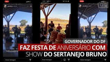 Governador do DF, Ibaneis Rocha, faz festa de aniversário com show do sertanejo Bruno