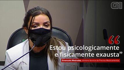 VÍDEO: Emanuela Medrades diz que está disposta a colaborar com a CPI, mas está 'exausta'