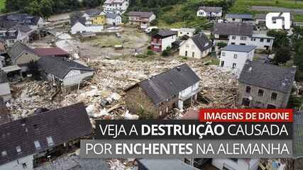VÍDEO: Imagens de drone mostram destruição causada por enchentes na Alemanha