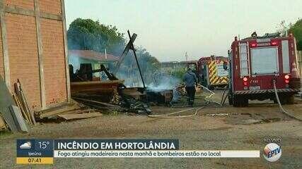 Incêndio atinge madeireira em Hortolândia