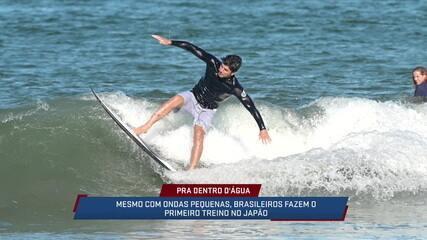 Mesmo com ondas pequenas, brasileiros fazem primeiro treino no Japão
