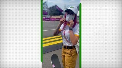 Skatista Leticia Bufoni mostra o primeiro dia de treinos em Tóquio
