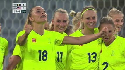 Os gols de Suécia 3 x 0 Estados Unidos pelo futebol feminino nas Olimpíadas de Tóquio 2020