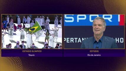 Veja as reações de Bernardinho com o filho Bruninho como porta-bandeira do Brasil