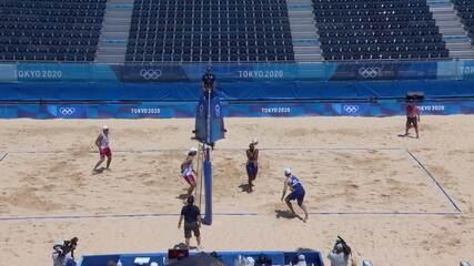 Melhores momentos: Brasil 2 X 1 Chile pelo vôlei de praia masculino