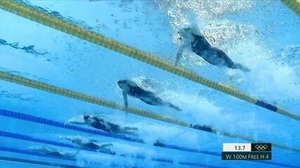 Larissa Oliveira termina em sexto lugar nos 100m livre feminino