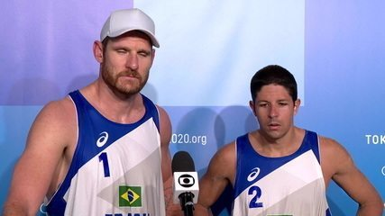 Alison e Alvaro concedem entrevista após vencer a Holanda por 2x0 no Volei de Praia Masculino