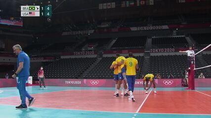 Melhores momentos: Brasil 3 x 1 Estados Unidos, pelo vôlei masculino das Olimpíadas Tóquio 2020