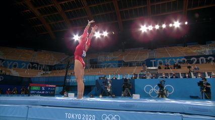 Mykayla Skinner tem média 14.866 no salto na classificatória - Olimpíadas de Tóquio