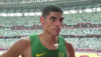 """""""Bem ruim, nada do que estávamos procurando."""" lamenta Lucas Carvalho sobre seu resultado nos 400m rasos - Olimpíadas de Tóquio"""