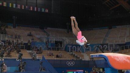 Rebeca Andrade faz grande salto e consegue a média de 15.083