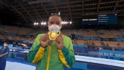 Rebeca Andrade conquista o ouro no salto da ginástica artística