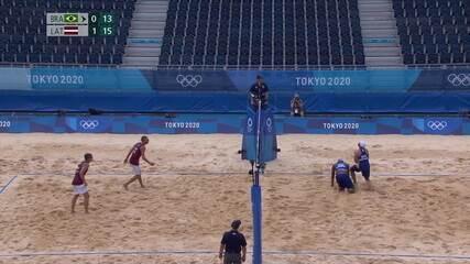 Melhores momentos: Evandro/Bruno (BRA) 0x2 Plavins/Tocs (LET) pelas oitavas de final das Olimpíadas de Tóquio