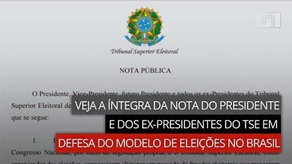 Veja a íntegra da nota do presidente e dos ex-presidentes do TSE em defesa do modelo de eleições no Brasil
