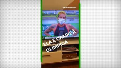 Nos stories, Maria Clara Fontoura comemora conquista do ouro de Ana Marcela na natação