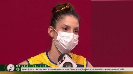 """Camila Brait comemora ida para a final e comenta situação da Tandara: """"Vamos jogar por ela"""""""