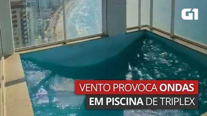 Piscina de triplex tem 'ondas' após vento bater em prédio de 30 andares em Santa Catarina