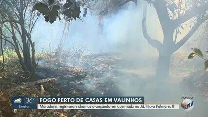Vídeo mostra incêndio em mata do Jardim Nova Palmares II, em Valinhos
