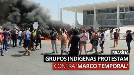 VÍDEO: Grupos indígenas protestam contra 'marco temporal', em Brasília