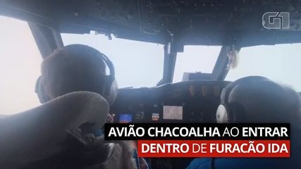 Avião chacoalha ao entrar dentro de furacão Ida