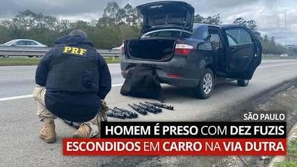 Polícia Rodoviária apreende 10 fuzis escondidos em carro na Via Dutra em Guarulhos, SP