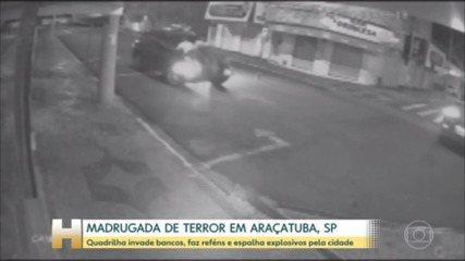 Quadrilha invade bancos, faz reféns e espalha explosivos em Araçatuba, interior de SP
