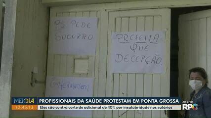 Profissionais da saúde protestam em Ponta Grossa