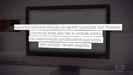Bolsonaro recua e diz em 'Declaração à Nação' que nunca teve intenção de agredir Poderes