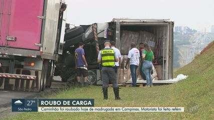 Polícia Rodoviária recupera caminhão carregado com frango congelado roubado em Campinas