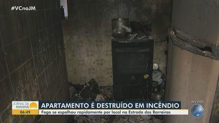 Incêndio destrói apartamento no bairro do Cabula, em Salvador