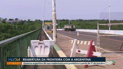 Governo da Argentina anuncia reabertura das fronteiras de forma gradativa
