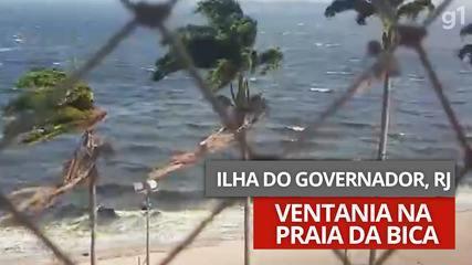 Vídeo mostra ventania na Praia da Bica, na Ilha do Governador