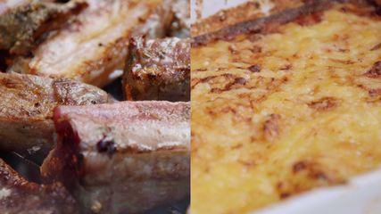 Churrasco com batata gratinada e farofa de banana