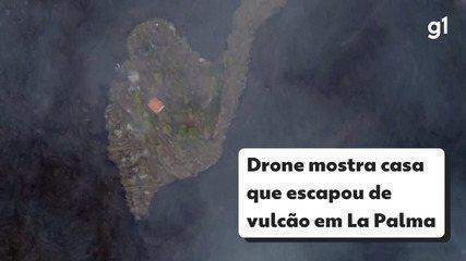 Drone registra casa 'poupada' da destruição provocada pela lava vulcânica, em La Palma