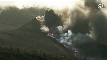 Lava de vulcão atinge o mar nas Canárias e libera gases tóxicos no ar; veja vídeo