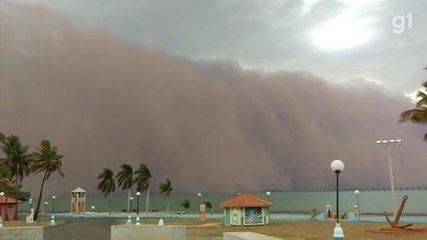 Nuvem gigante de areia assusta comerciante em prainha do interior de SP; vídeo