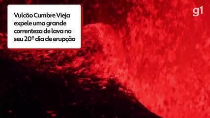 Se produce una erupción volcánica el día 20 de la erupción de La Palma