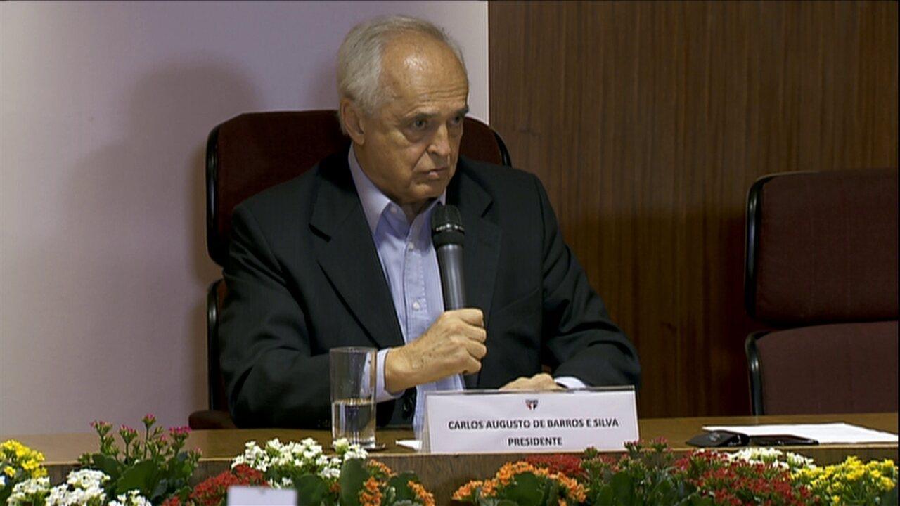 Leco dá primeira coletiva como presidente do São Paulo, em 2015