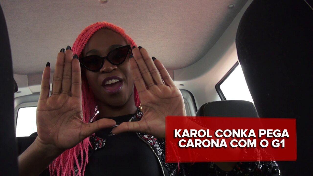 Karol Conka canta 'É o poder' e 'Tombei' em carona com o G1 antes do Lollapalooza 2016