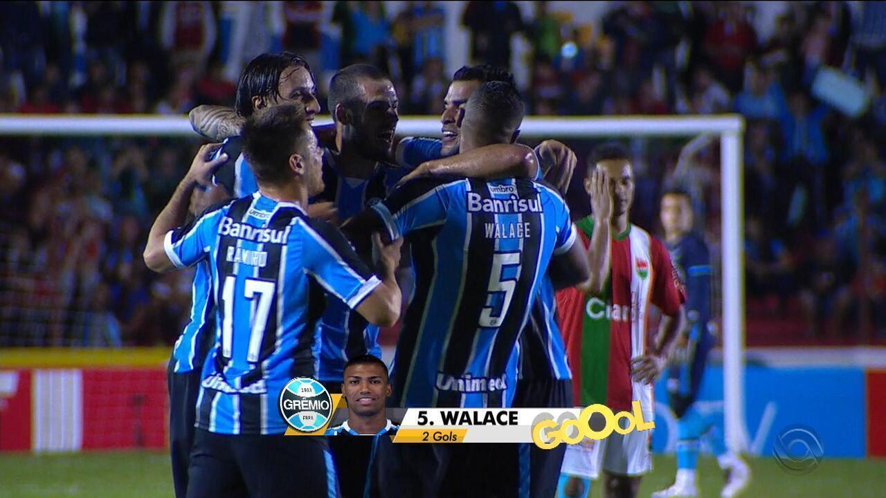 Veja os 2 gols de Walace no primeiro tempo de Grêmio x Passo Fundo