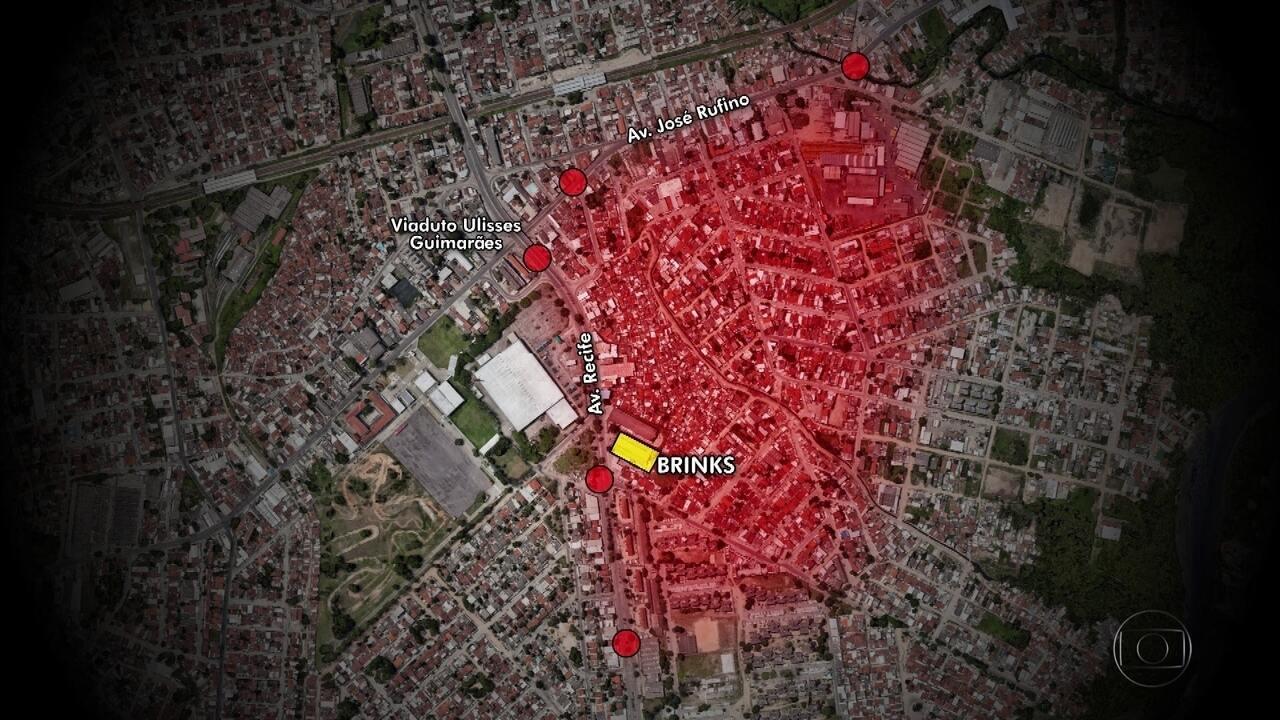 Veja os pontos de bloqueio feitos por bandidos na ação contra transportadora no Recife