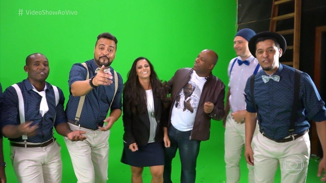 Viviane Araújo é a musa do clipe do grupo 'Dose Certa'; veja acima os bastidores