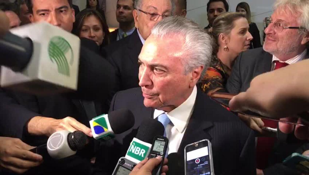 O presidente Michel Temer, durante entrevista coletiva após evento da CNA, em Brasília