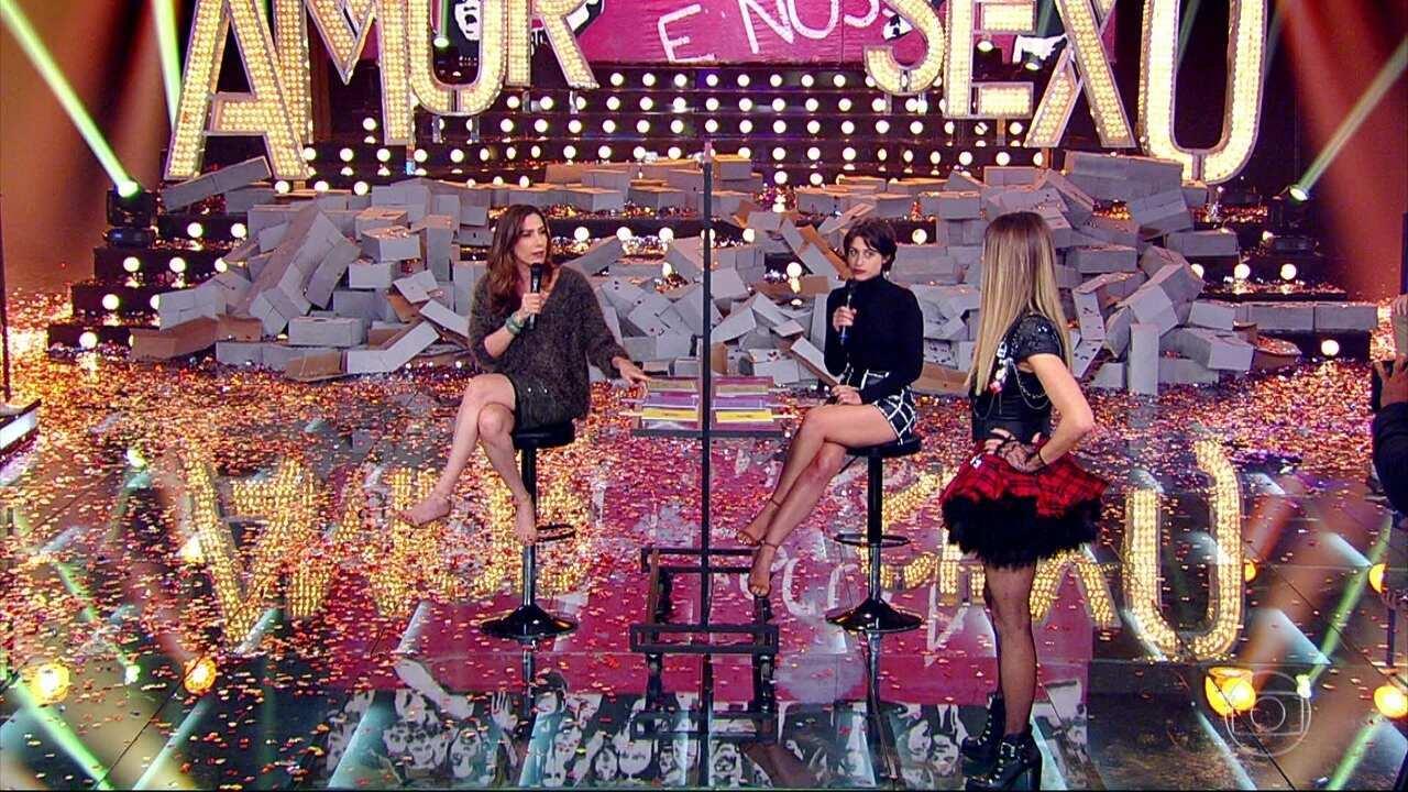 Virgínia Cavendish e Luisa Arraes mostram sintonia em brincadeira no palco do programa