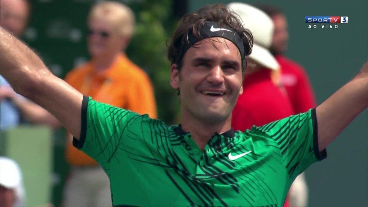 Pontos finais de Roger Federer 2 x 0 Rafael Nadal na final do Masters 1000 de Miami
