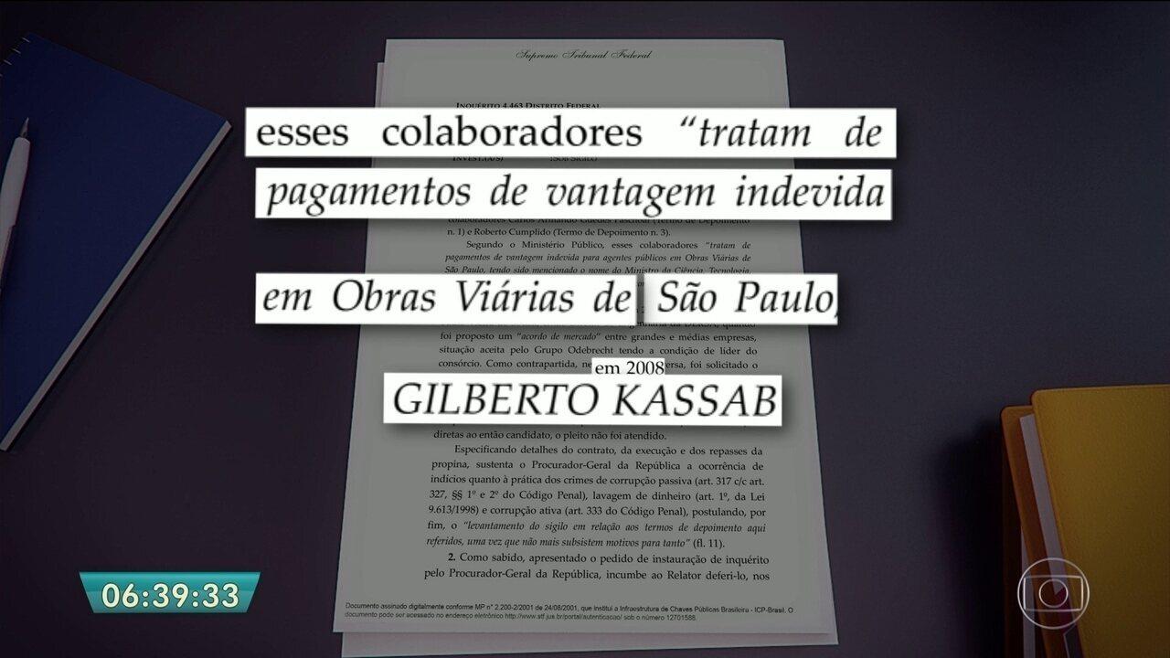 Ministro Gilberto Kassab é citado por executivos da Odebrecht