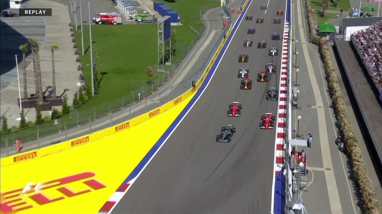 Confira o replay da largada do GP da Rússia, com direito a visão dos pilotos